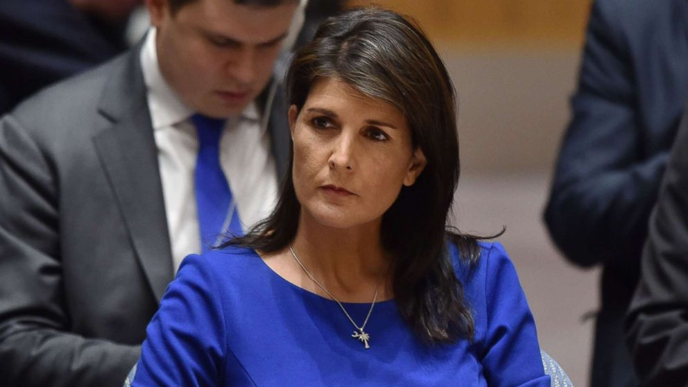 U.S. Ambassador to the United Nations Nikki Haley listens during a UN Security Council meeting, at the United Nations Headquarters in New York, April 14, 2018.
