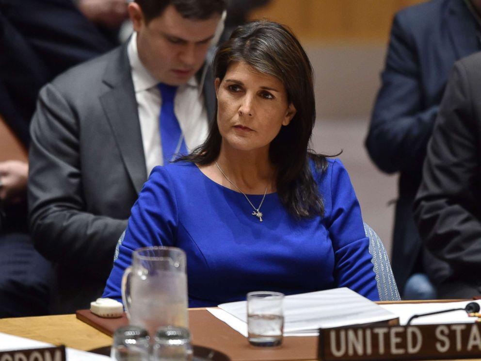 PHOTO: U.S. Ambassador to the United Nations Nikki Haley listens during a UN Security Council meeting, at the United Nations Headquarters in New York, April 14, 2018.