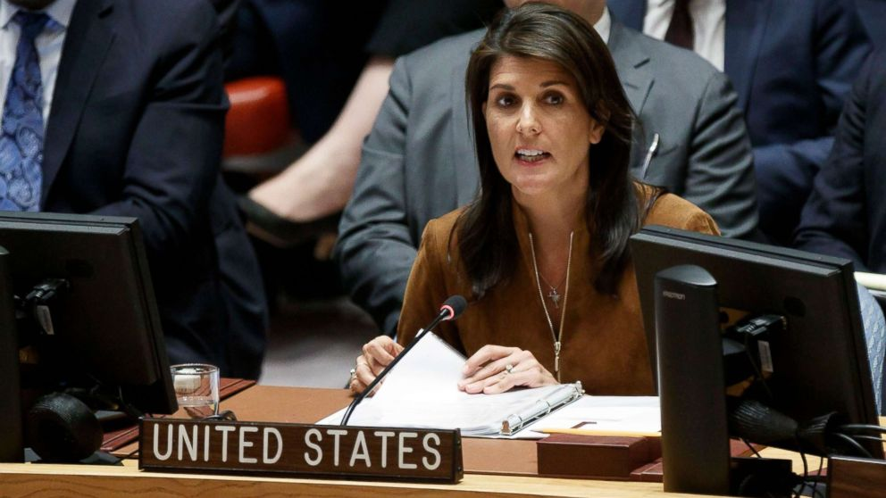Nikki Haley addresses an emergency United Nations Security Council meeting in response to a suspected chemical weapons attack in Syria at United Nations headquarters in New York, April 9, 2018.