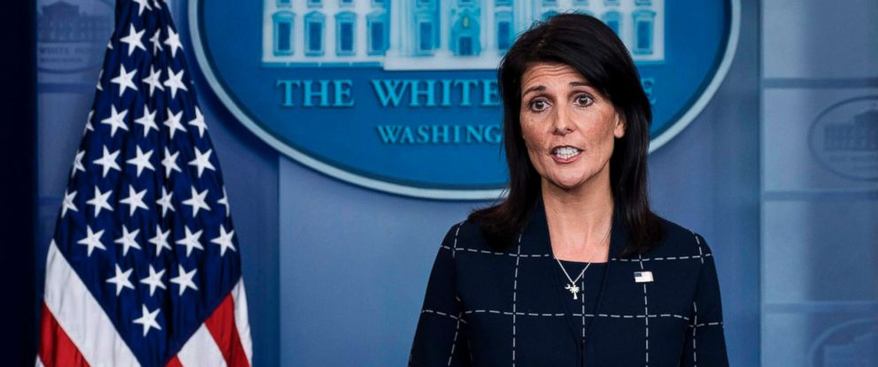 PHOTO: United States Ambassador to the United Nations Nikki Haley speaks during a briefing at the White House, April 24, 2017 in Washington, D.C.