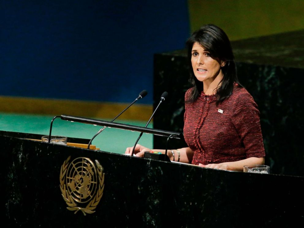 PHOTO: U.S. Ambassador to the United Nations Nikki Haley addresses the General Assembly prior to the vote on Jerusalem, Dec. 21, 2017, at U.N. Headquarters in New York.