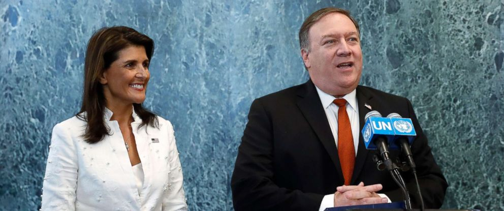 PHOTO: Secretary of State Mike Pompeo and Ambassador to the United Nations Nikki Haley address the media after their meeting with United Nations Secretary-General Antonio Guterres at United Nations Headquarters in New York, New York, July 20, 2018.