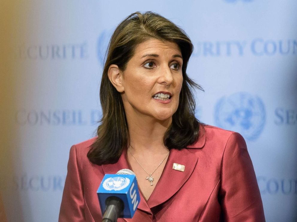 PHOTO: U.S. Ambassador Nikki Haley speaks at United Nations Headquarters in New York, Sept. 20, 2018.
