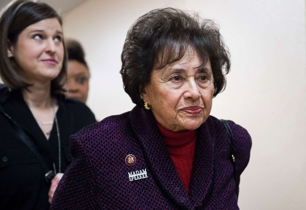 PHOTO: Rep. Nita Lowey leaves the House Democrats caucus meeting in the Capitol Hill, Jan. 4, 2019, in Washington, DC.