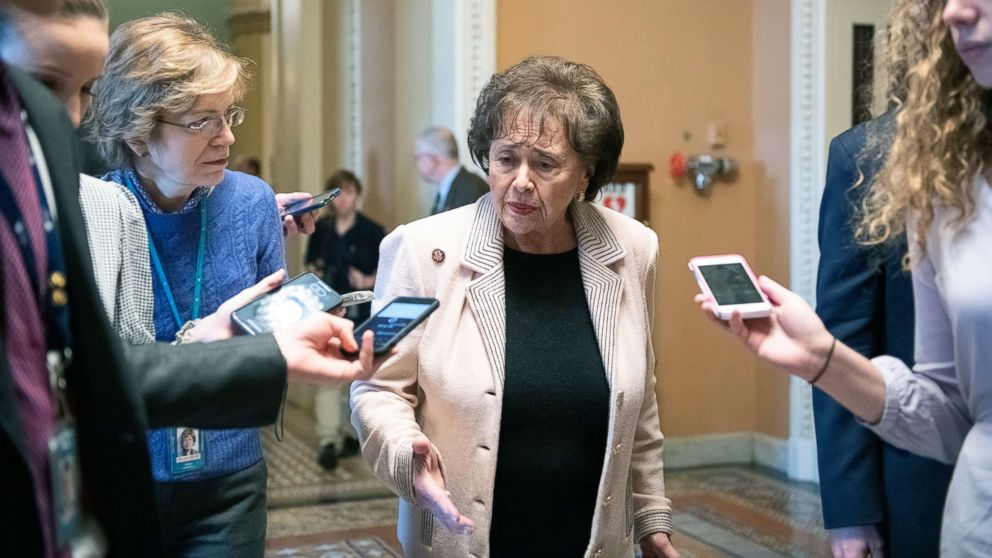 Rep. Nita Lowey answers reporter's questions as she departs the Senate Chamber at the US Capitol in Washington, DC, Jan. 24, 2019.