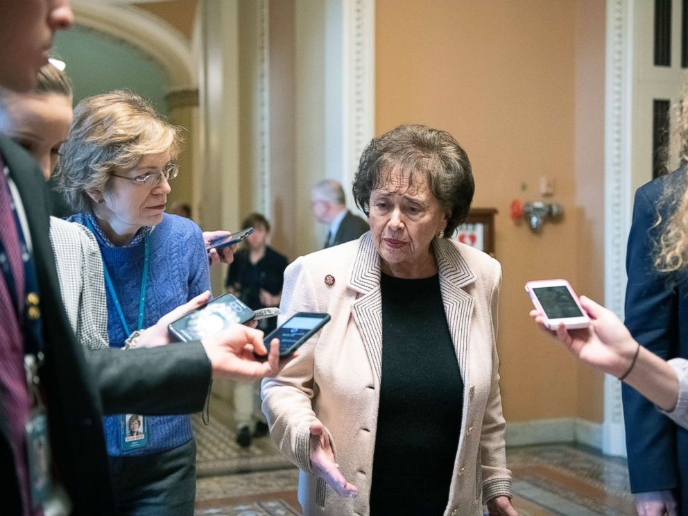 PHOTO: Rep. Nita Lowey answers reporters questions as she departs the Senate Chamber at the US Capitol in Washington, DC, Jan. 24, 2019.