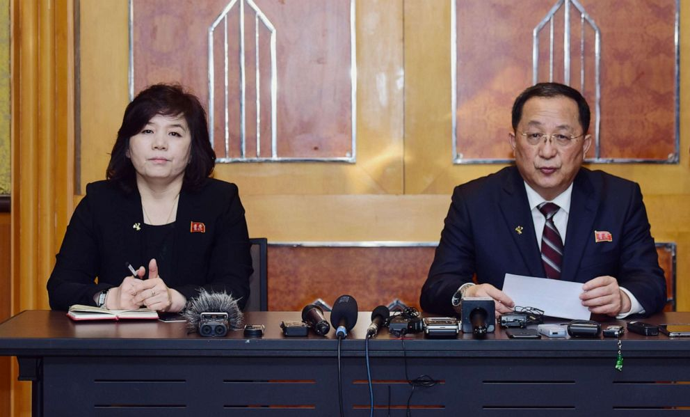 PHOTO: North Korean Foreign Minister Ri Yong Ho, right, speaks as Vice-Minister of Foreign Affairs Choe Son Hui listens during a press conference in Hanoi, March 1, 2019, following the US-North Korea summit which ended abruptly.