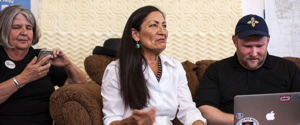 PHOTO: Deb Haaland, center, speaks with campaign organizers at the Haaland headquarters in Albuquerque, New Mexico, June 5, 2018. Haaland, a tribal member of Laguna Pueblo, is aiming to become the first Native American woman in Congress.