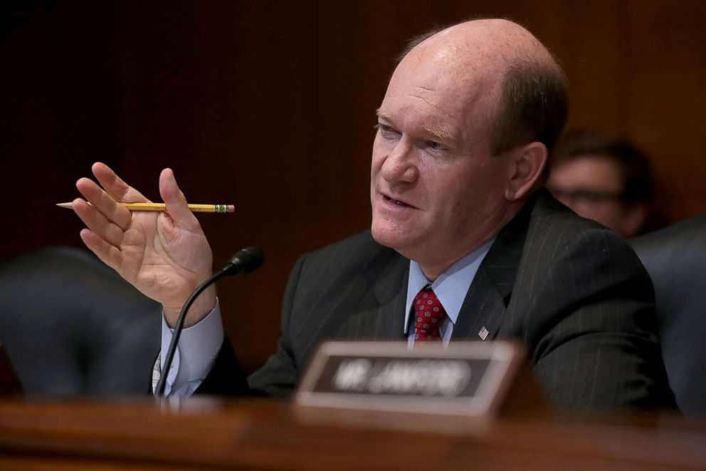 Senator Chris Coons, ranking member of the Senate Appropriations Committee's Financial Services and General Government Subcommittee during a hearing, May 22, 2018 in Washington, DC.