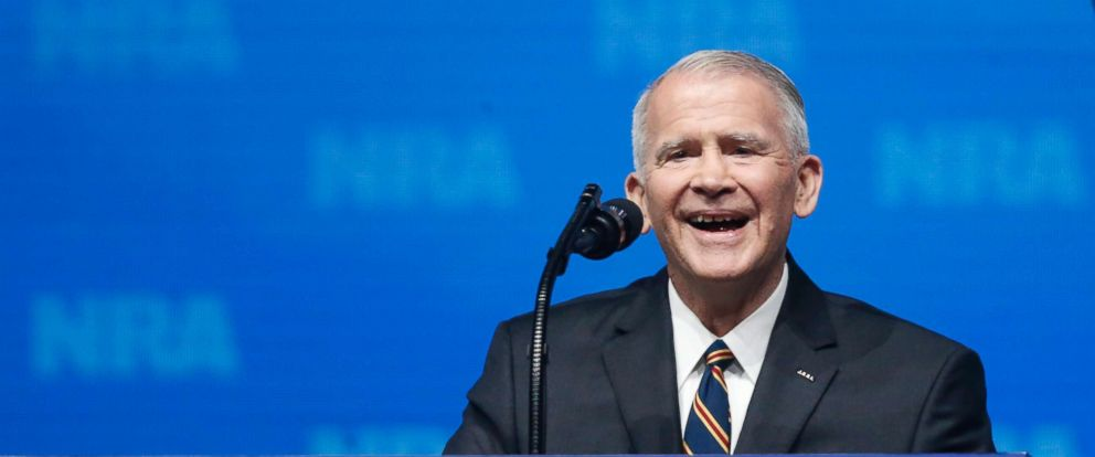 PHOTO: Former U.S. Marine Lt. Col. Oliver North speaks before giving the Invocation at the National Rifle Association-Institute for Legislative Action Leadership Forum in Dallas, May 4, 2018.