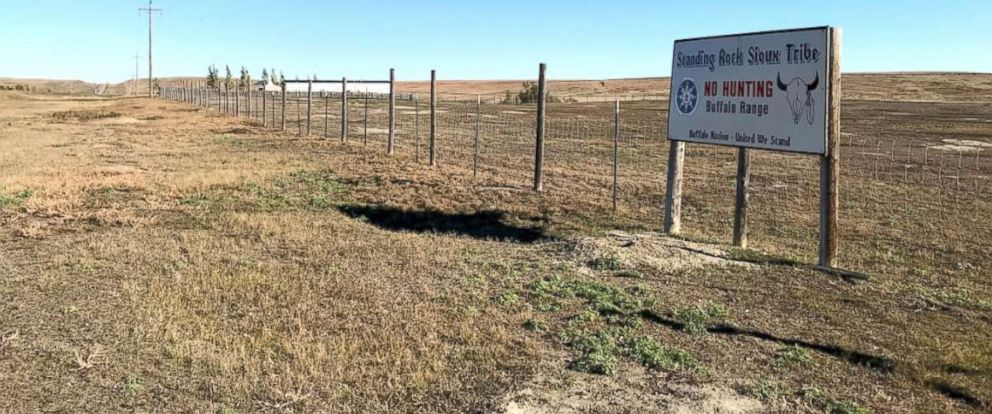 PHOTO: A sign warns passersby not to hunt in a buffalo range on the Standing Rock Indian Reservation near Fort Yates, N.D.