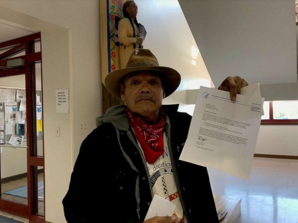PHOTO: Bill Left Hand, 56, holds up a letter from the U.S. Department of Health and Human Services at the Standing Rock Indian Reservation tribal headquarters in Fort Yates, N.D.