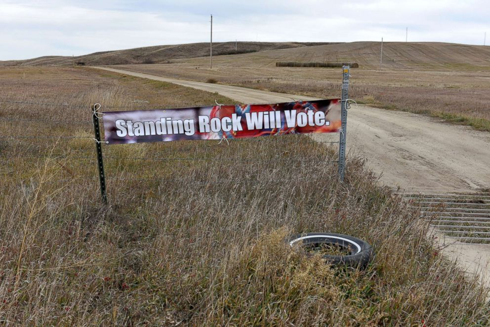 PHOTO: A banner encouraging tribal members to vote in the 2018 mid-term elections, is seen on the Standing Rock Reservation near Fort Yates, North Dakota, Oct. 26, 2018.