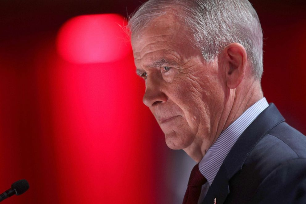 PHOTO: President of the National Rifle Association (NRA) Oliver North speaks during CPAC 2019, Feb. 28, 2019, in National Harbor, Md.