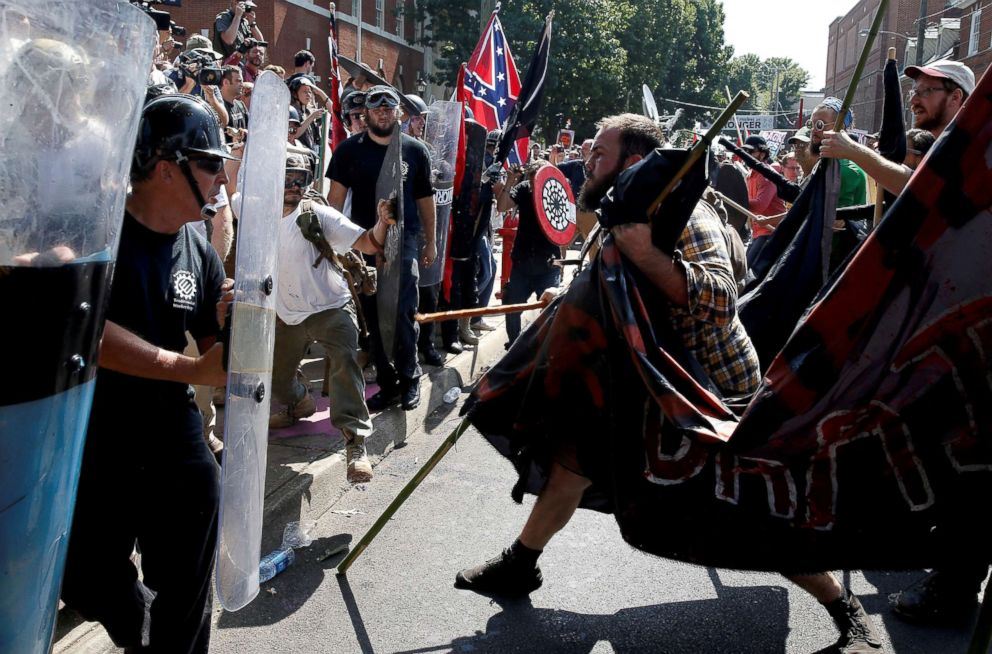 PHOTO: White nationalists clash with counter protesters at a rally in Charlottesville, Virginia, Aug. 12, 2017.
