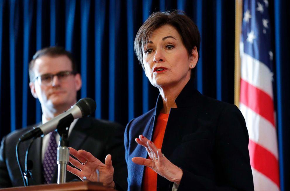Iowa Gov. Kim Reynolds speaks during a news conference, Jan. 8, 2018, in Des Moines, Iowa.