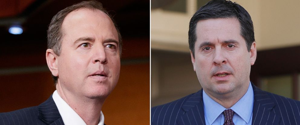 PHOTO: Rep. Adam Schiff ranking member of the House Intelligence Committee, arrives on Capitol Hill, Feb. 27, 2017. House Intelligence Committee Chairman Rep. Devin Nunes outside of the White House, March 22, 2017.