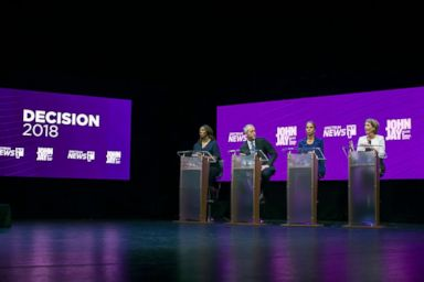 PHOTO: From left, Letitia James, Sean Patrick Maloney, Leecia Eve and Zephyr Teachout debate for New York State Attorney General during a Democratic Primary at John Jay College of Criminal Justice, Aug. 28, 2018.