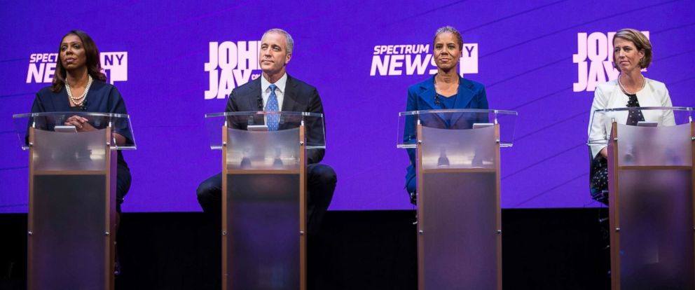 Letitia James, Sean Patrick Maloney, Leecia Eve, and Zephyr Teachout take part in a debate at John Jay College of Criminal Justice on Aug. 28, 2018 in New York City.
