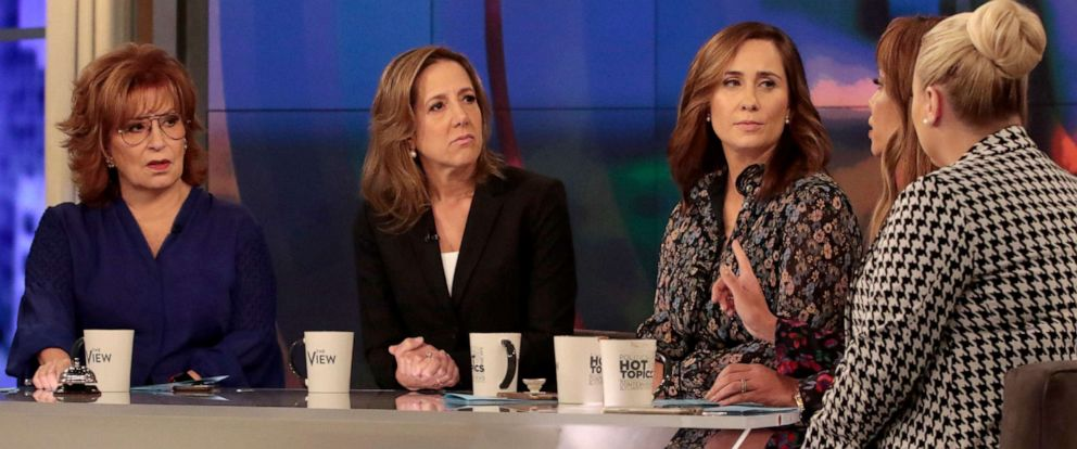 """PHOTO: New York Times journalists Robin Pogrebin and Kate Kelly talk with the hosts of """"The View,"""" on ABC, Sept. 17, 2019."""