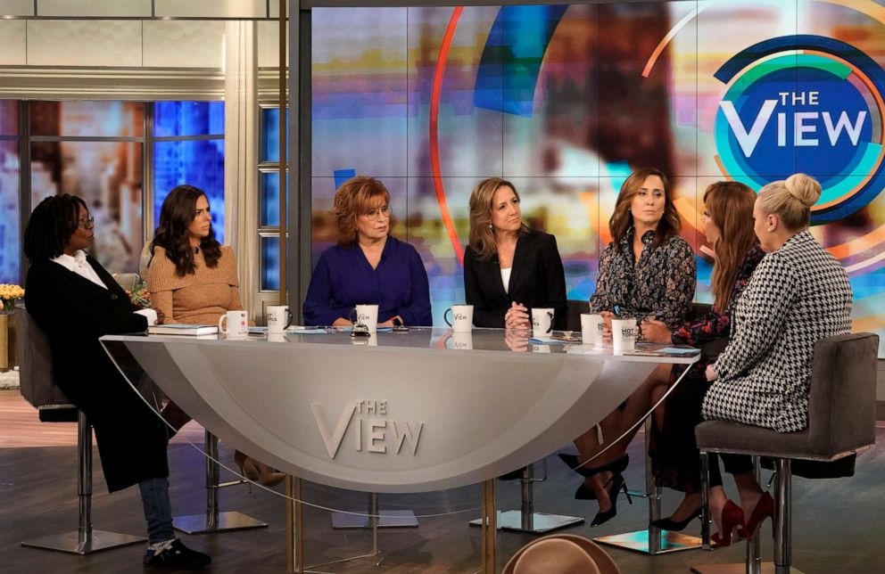 PHOTO: New York Times journalists Robin Pogrebin and Kate Kelly talk with the hosts of The View, on ABC, Sept. 17, 2019.