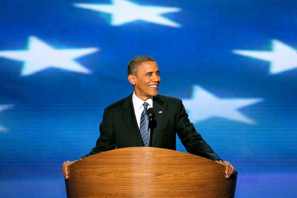 President Barack Obama speaks at the 2012 Democratic National Convention in Charlotte, North Carolina, Sept. 5, 2012.