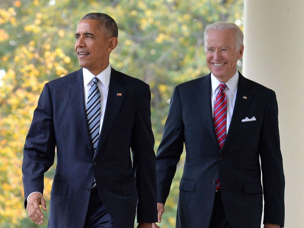 PHOTO: President Barack Obama (L) walks out of the Oval Office with Vice President Joe Biden to make remarks on Republican President-elect Donald J. Trumps presidential victory, at the White House, November 9, 2016, in Washington, D.C.