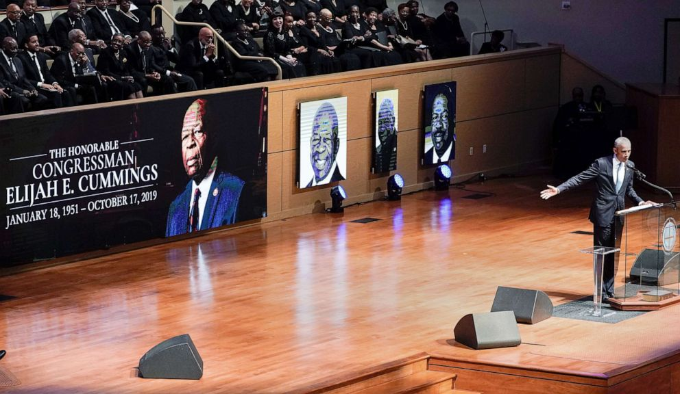 PHOTO: Former President Barack Obama speaks during funeral services for late Rep. Elijah Cummings at the New Psalmist Baptist Church in Baltimore, Oct. 25, 2019.