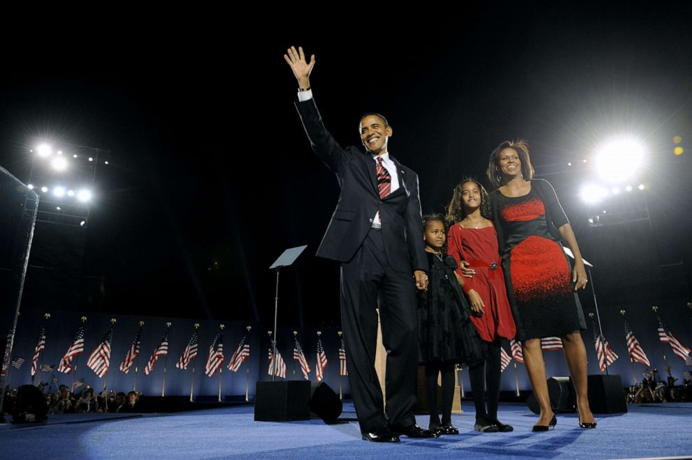 PHOTO: Democratic presidential candidate Barack Obama and his family arrive on stage for his election night victory rally at Grant Park, Nov. 4, 2008, in Chicago, Illinois.
