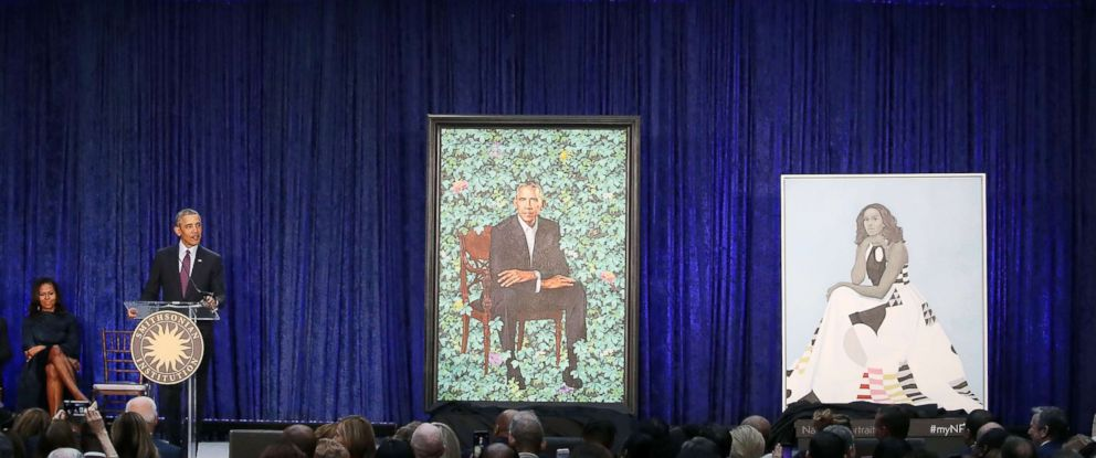 PHOTO: Former U.S. President Barack Obama speaks alongside former first lady Michelle Obama as their portraits are unveiled during a ceremony at the Smithsonians National Portrait Gallery, on Feb. 12, 2018 in Washington, D.C.