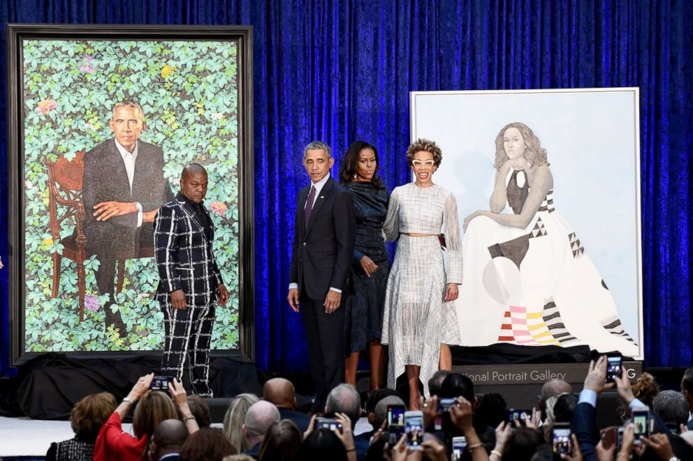 PHOTO: Former First Lady Michelle Obama and former President Barack Obama pose with Artists Kehinde Wiley and Amy Sherald during the unveiling of their official portraits at the National Portrait Gallery on Feb. 12, 2018, in Washington, D.C.