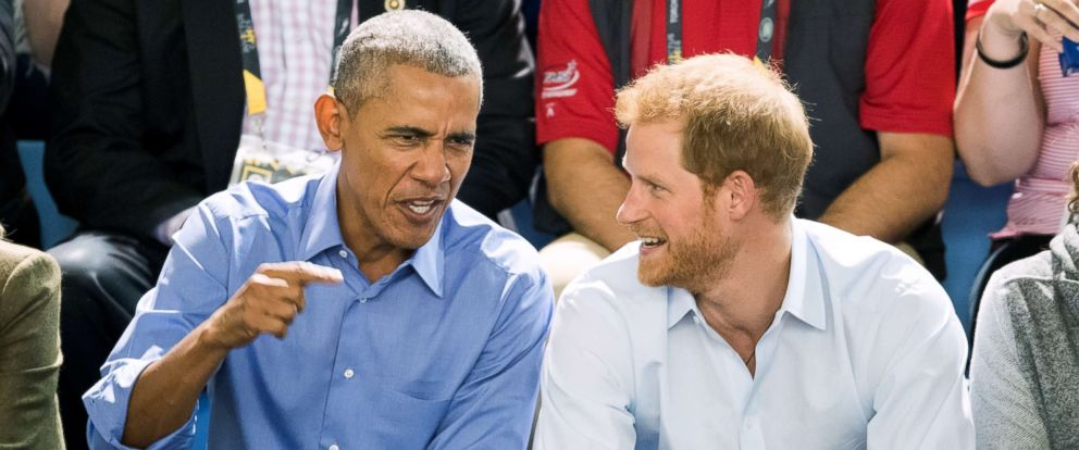 PHOTO: Former President Barack Obama and Prince Harry watch the wheelchair basketball on day seven of the Invictus Games 2017, Sept. 29, 2017, in Toronto.