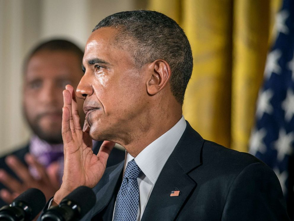 PHOTO: President Barack Obama wipes away tears as he talks about needless shootings at Sandy Hook Elementary school during a press briefing in the East Room of the White House, Jan. 5, 2015, in Washington D.C.