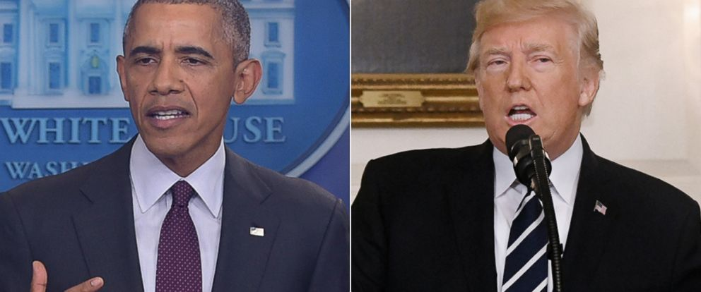 PHOTO: President Barack Obama in Washington, Oct. 1, 2015 | President Donald Trump in Washington, Oct. 2, 2017.