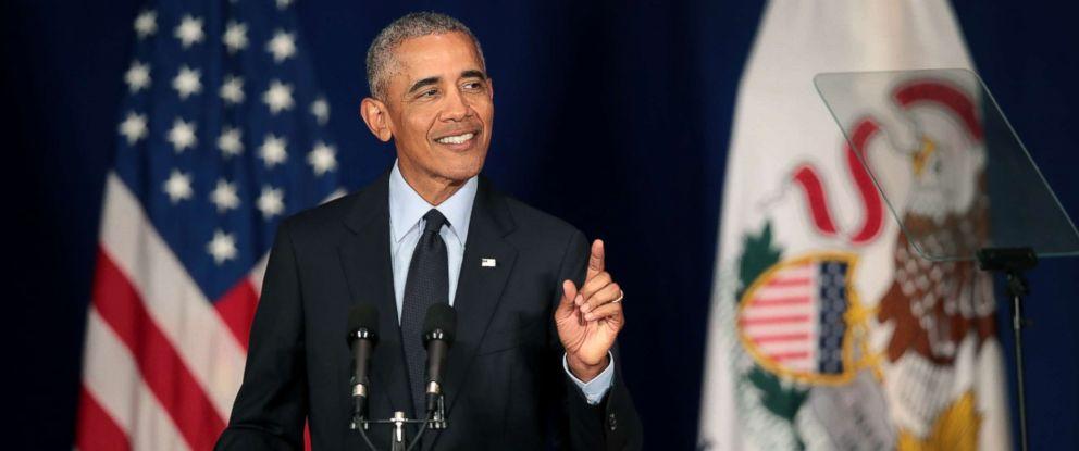 PHOTO: Former President Barack Obama speaks to students at the University of Illinois, Sept. 7, 2018, in Urbana, Ill.