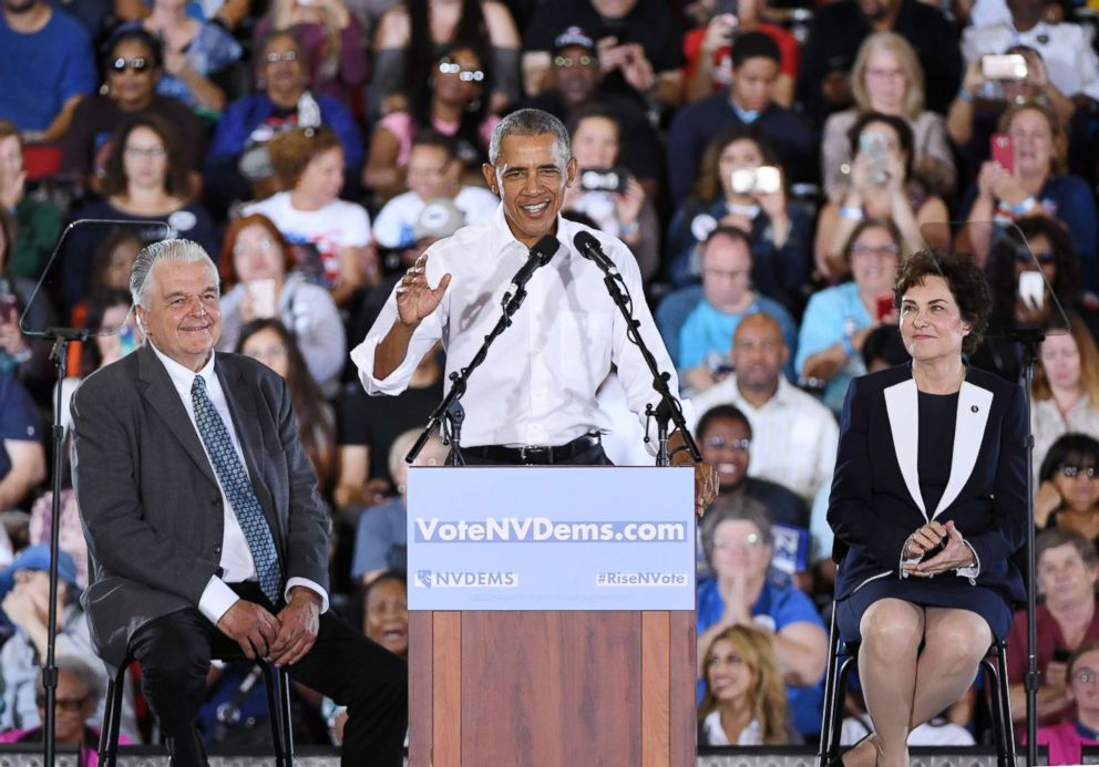 Former President Barack Obama speaks during a get-out-the-vote rally for Nevada Democratic candidates, Oct. 22, 2018, in Las Vegas.