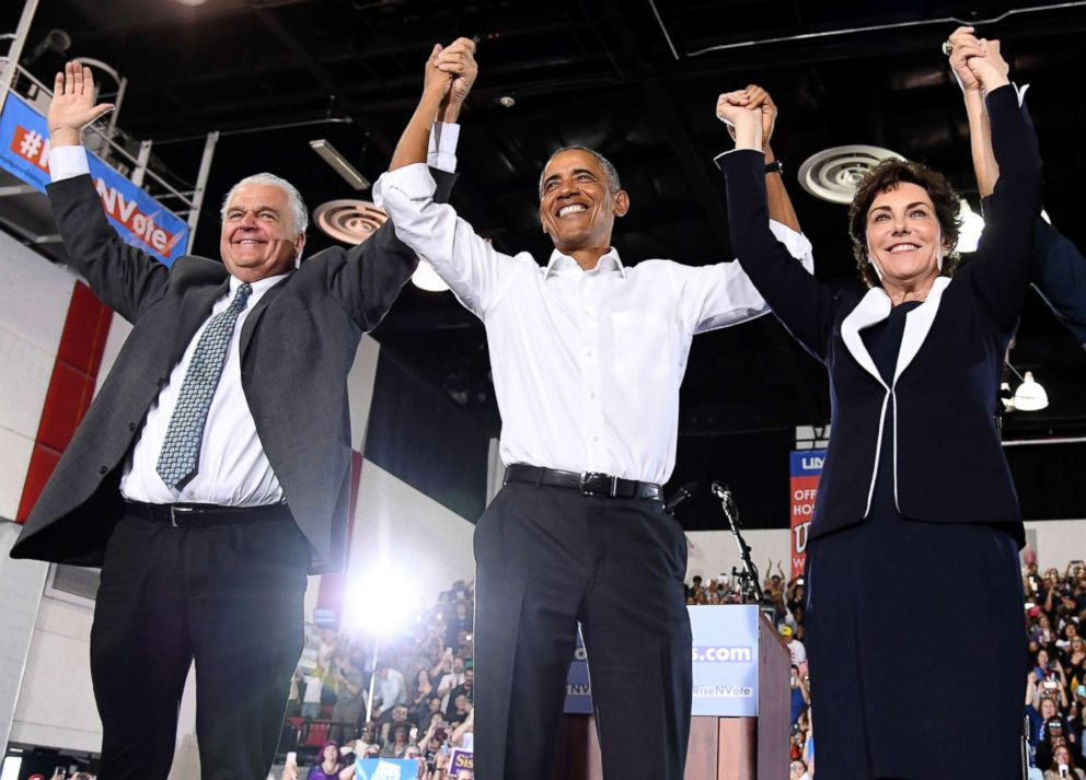 PHOTO: Clark County Commission Chairman and Democratic gubernatorial candidate Steve Sisolak, former President Barack Obama and U.S. Senate candidate Jacky Rosen at a get-out-the-vote rally at the Cox Pavilion, Oct. 22, 2018, in Las Vegas.