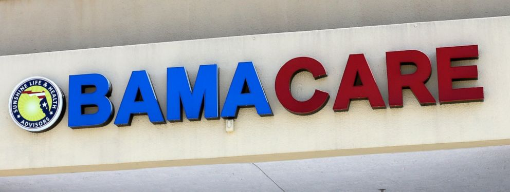 PHOTO: This May 11, 2017, file photo shows an Obamacare sign being displayed on the storefront of an insurance agency in Hialeah, Fla.