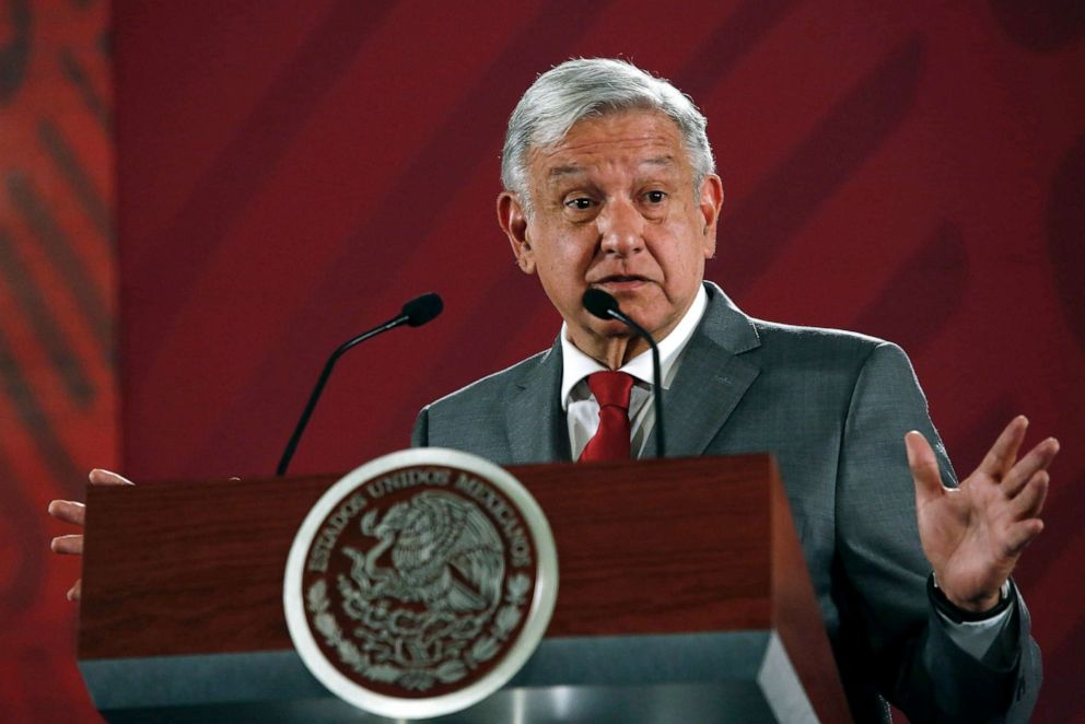 PHOTO: Mexicos President Andres Manuel Lopez Obrador said Mexico will not respond to President Donald Trumps threat of coercive tariffs during his daily morning press conference at the National Palace, in Mexico City, May 31, 2019.