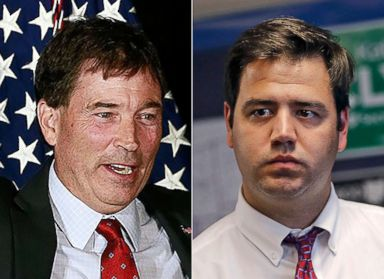 PHOTO: From left:Troy Balderson appears at a rally in Newark, Ohio, July 30, 2018.|Danny OConnor attends an event at the Democrat Party office in Delaware, Ohio, July 19, 2018.