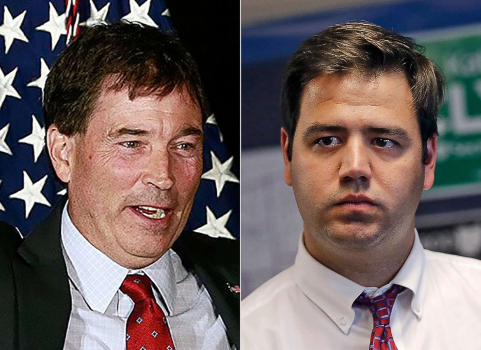 From left:Troy Balderson appears at a rally in Newark, Ohio, July 30, 2018.|Danny O'Connor attends an event at the Democrat Party office in Delaware, Ohio, July 19, 2018.