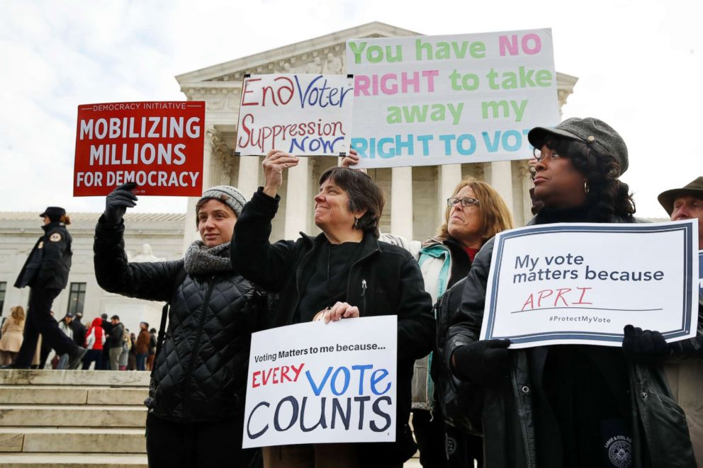 PHOTO: People rally outside of the Supreme Court in opposition to Ohios voter roll purges, Jan. 10, 2018, in Washington.