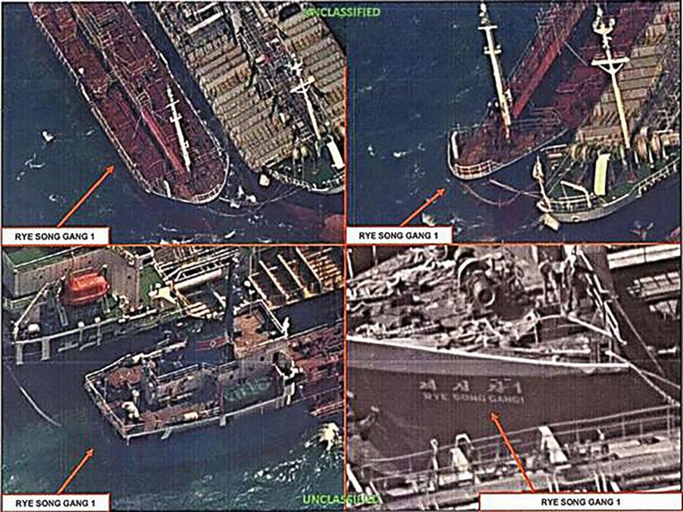 PHOTO: This image taken on Oct. 19, 2017, shows a possible ship-to-ship transfer of oil to evade sanctions. The image was released by the Treasury Departments Office of Foreign Assets Control.