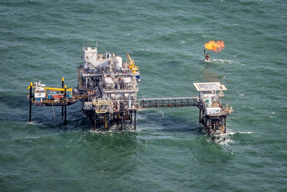 PHOTO: Aerial view of an oil production platform in the Gulf of Mexico.