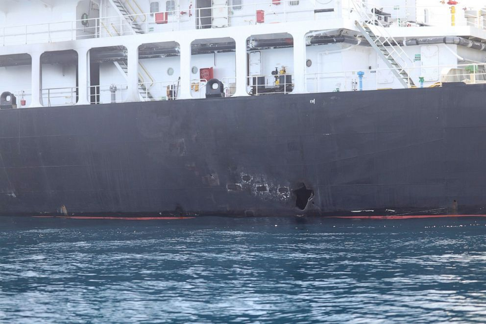 PHOTO: An image released by the Pentagon shows what the Navy says is the damage on the starboard side of the Kokuka Courageous, which was sustained from a limpet mine attack on a June 13, 2019, while operating in the Gulf of Oman.