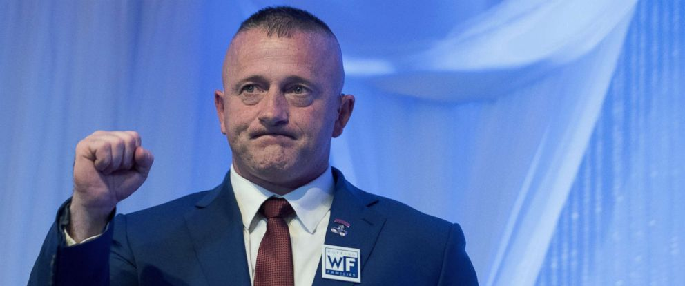 PHOTO: Democratic congressional candidate Richard Ojeda reacts after delivering his concession speech during his election night party in Yuma, W.V., Nov. 6, 2018.