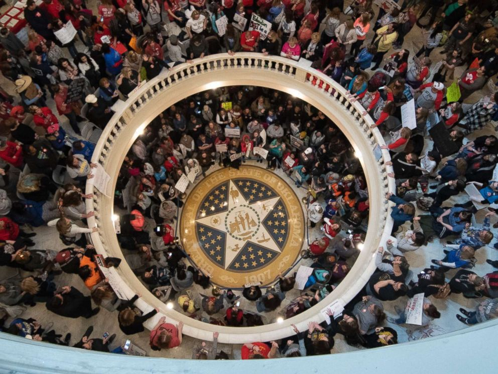 PHOTO: Teachers continue their strike at the state capitol on April 9, 2018 in Oklahoma City, Okla.
