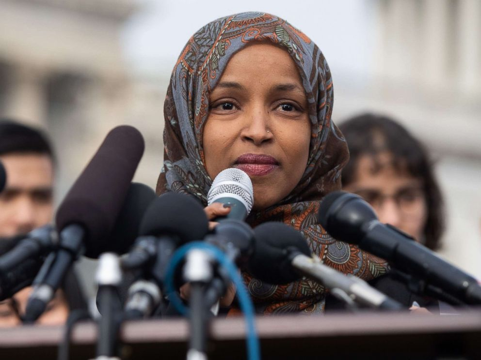 PHOTO: Representative Ilhan Omar, Democrat of Minnesota, speaks during a press conference calling on Congress to cut funding for US Immigration and Customs Enforcement (ICE) and to defund border detention facilities, outside the US Capitol, Feb. 7, 2019.