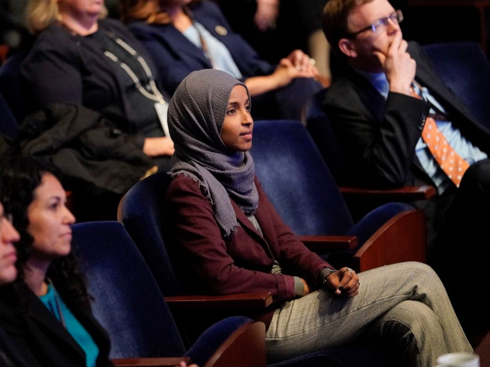 PHOTO: In this Nov. 15, 2018 file photo, Rep.-elect IIhan Omar, D-Minn., center, listens during member-elect orientations on Capitol Hill in Washington. A western New York man has been charged with threatening to kill U.S. Rep. Omar of Minnesota.