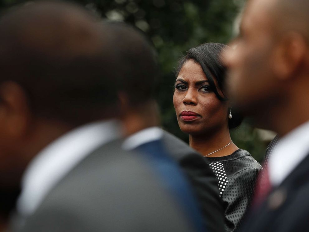 PHOTO: White House Director of Communications for the Office of Public Liaison Omarosa Manigault stands with the of leaders of historically black colleges and universities (HBCU) outside the West Wing of the White House in Washington, Feb. 28, 2017.